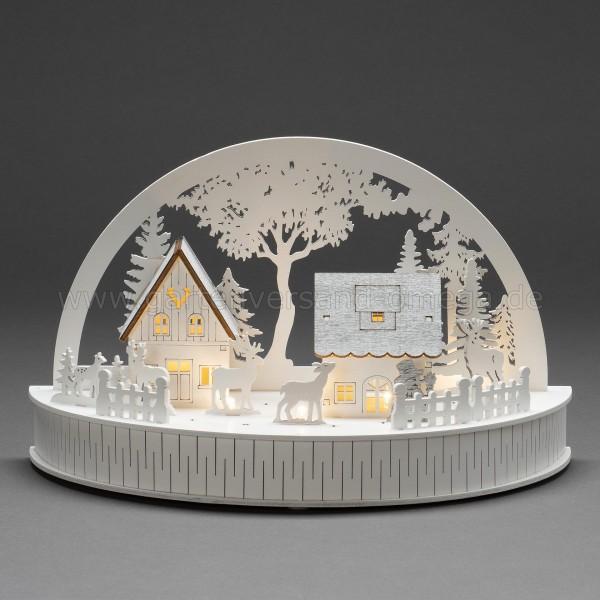 LED-Holzsilhouette Häuser und Rentiere