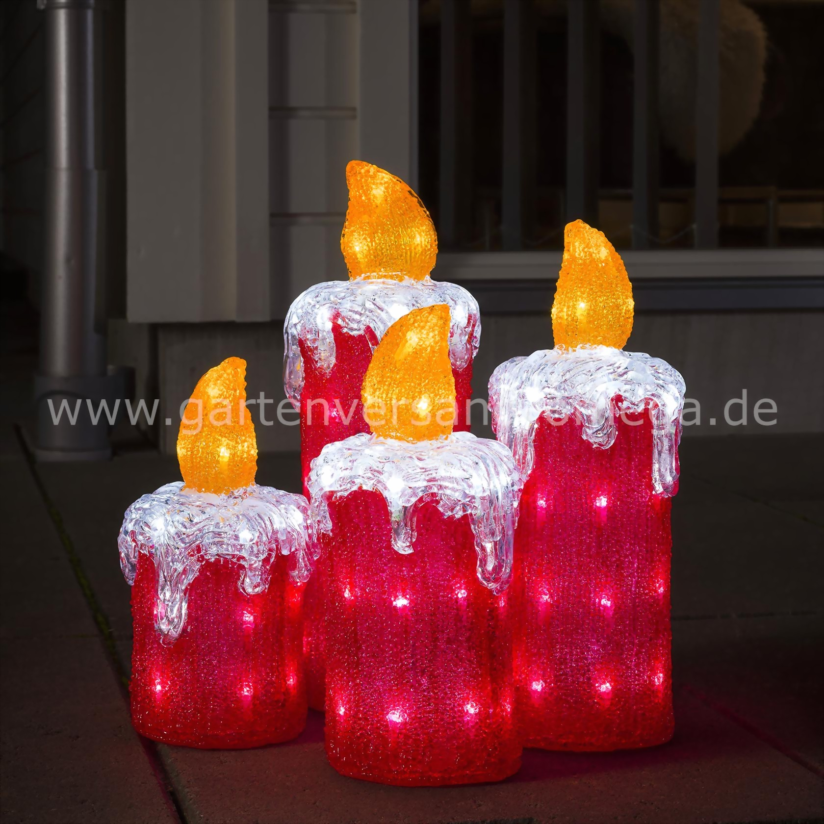led acryl adventskerzen adventskerzen garten adventskranz im garten au enbeleuchtung advent. Black Bedroom Furniture Sets. Home Design Ideas
