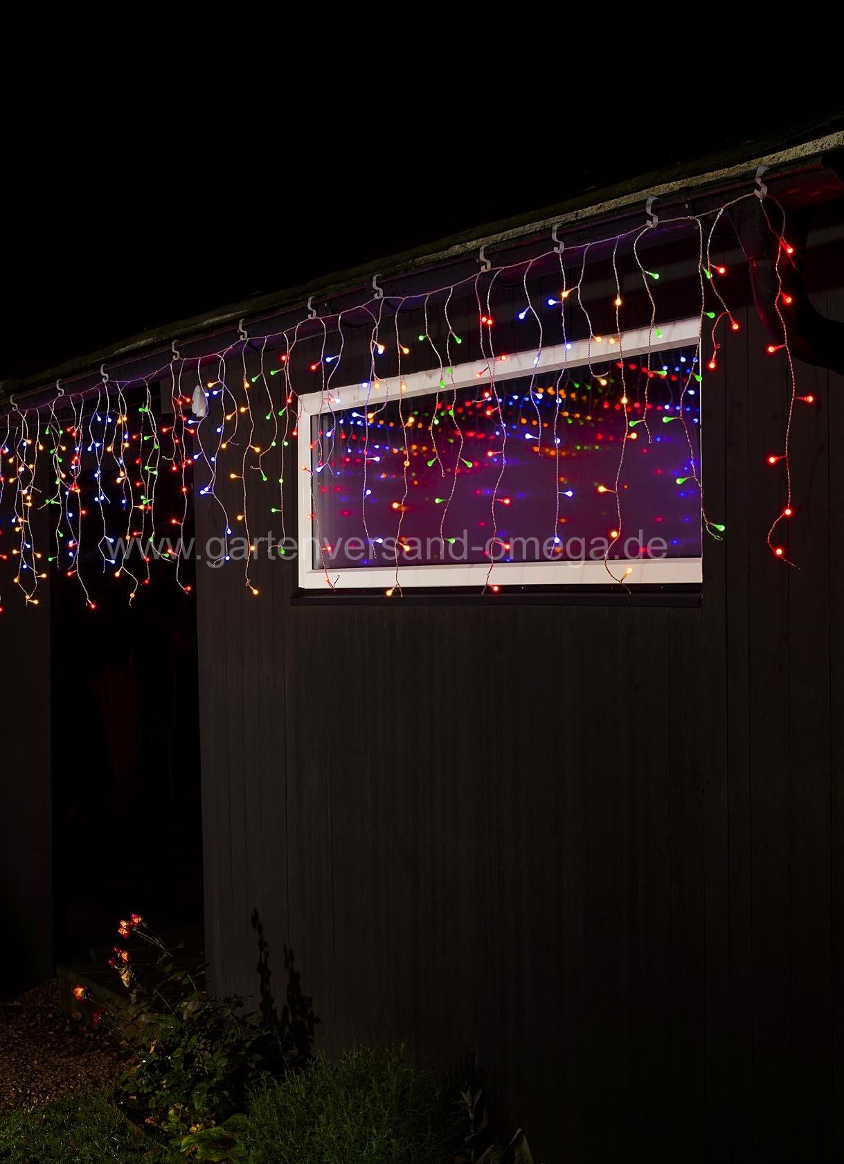 led eisregen lichtervorhang bunt 400 globe leds fensterschmuck beleuchtet. Black Bedroom Furniture Sets. Home Design Ideas